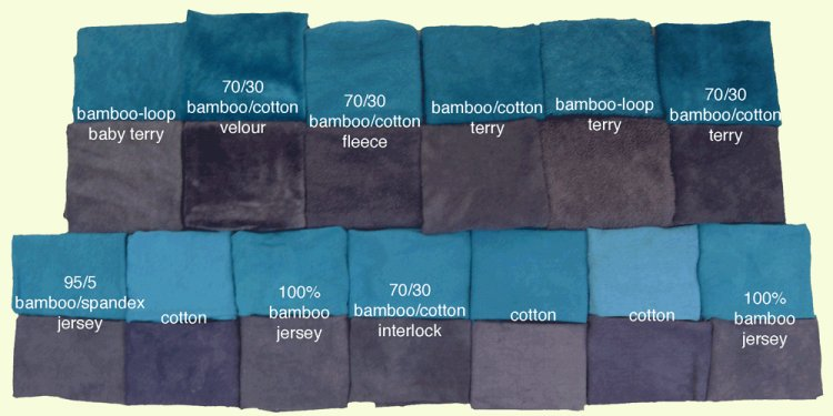 Bamboo and cotton dyed in