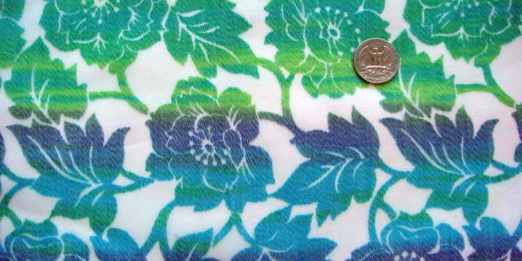 Beautiful 70s Sheer Vintage Fabric ~ Graduated Floral Blues Greens