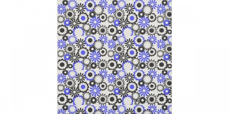 Blue, black and white floral
