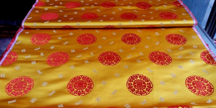 Silk brocade fabric gold