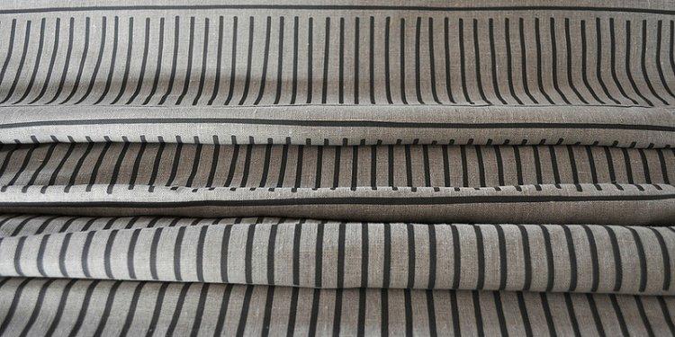 Corduroy pathway (C2) - hand printed eco fabric