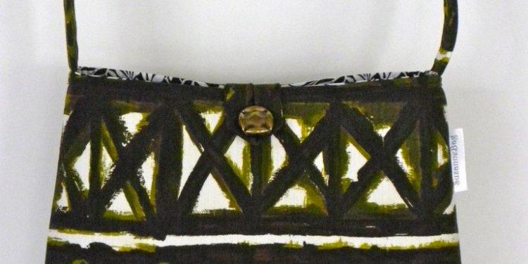 Olive Tiki Barkcloth Vintage Fabric Handbag