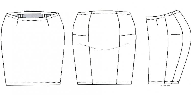 Skirt with waistband front