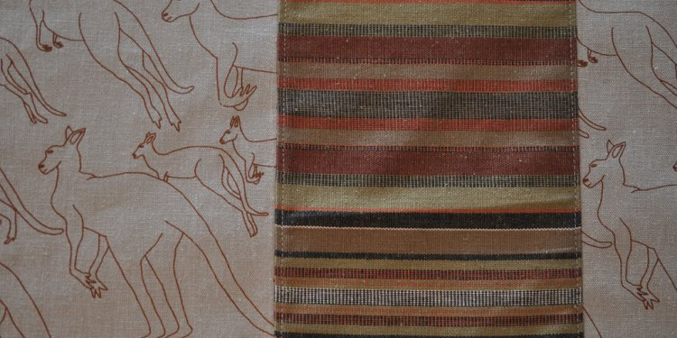Pieced-Fabric Table Runner / Bed Runner :: hand printed eco fabric(2c - detail