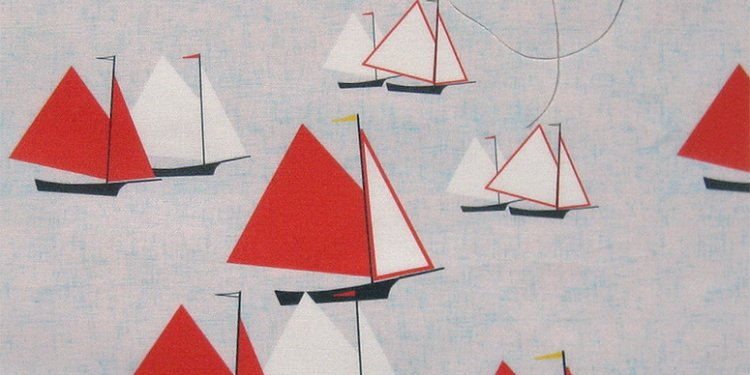 Racing gaff-rigged skiffs: swatch on basic combed cotton