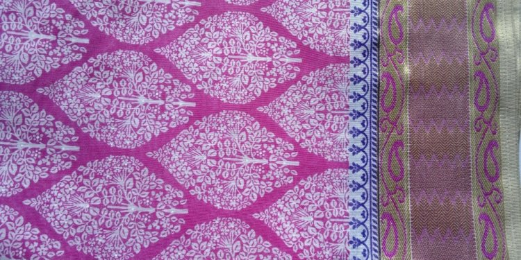 Pink Block Print Saree Fabric