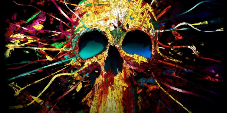 Digital Art Colorful Skull