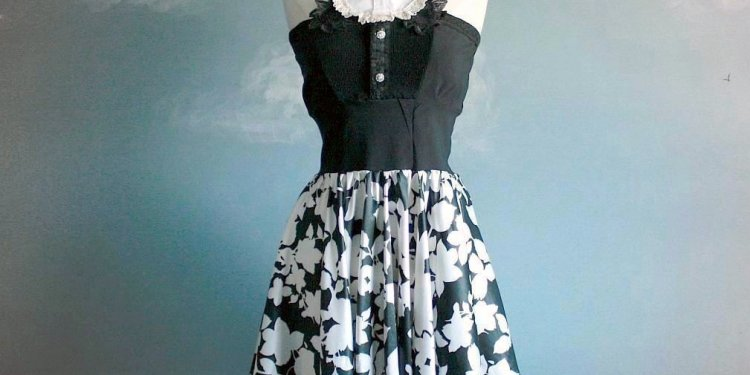 Womens Black White Retro Dress Medium Large Tuxedo Cocktail Mini Bib Strapless