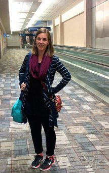 Brooke and her 12L handbag. Best fabrics for travel clothing.