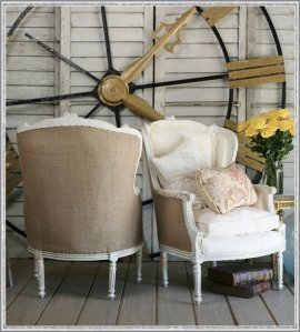 Burlap chairs...hmmm! When I slipcover my Living Room Chairs in White Denim...I should do the backs of them in Burlap!!!