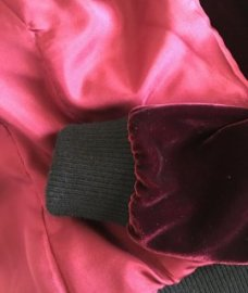Mood Fabrics' Rayon Silk Velvet bomber jacket using McCall's 7100- cuff