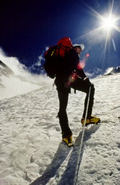 Pete Athans Climbing the Lhotse Face on Everest. Photo © Bill Crouse