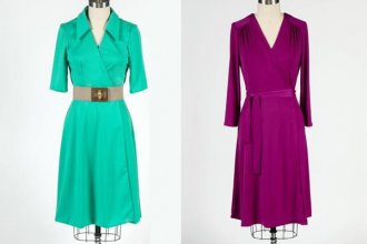 Teal and Magenta Knit Wrap Dresses on Craftsy!