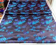 Black Silk Brocade Fabric