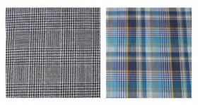 Two plaid fabric swatches