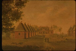 View of Mulberry, House and Street, ca. 1800, by Thomas Coram (American, 1756-1811); oil on paper.