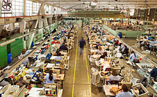 Workers in a textiles factory